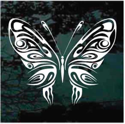Beautiful Ornamental Tribal Butterfly Window Decal