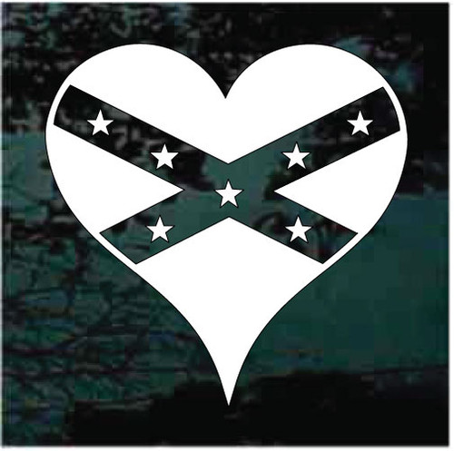 Single Color Confederate Flag Heart Decals