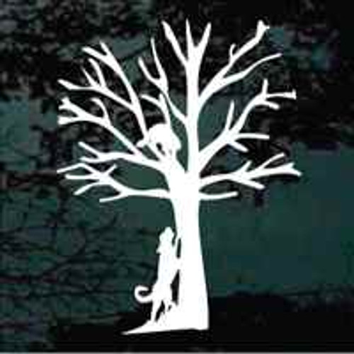 Coonhound With Tree'd Coon Window Decal