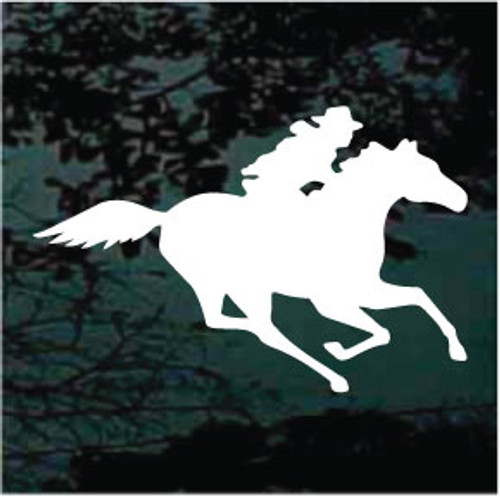 Running Horse With Cowboy Window Decals
