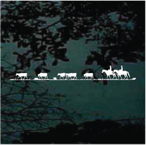 Horses Driving Cattle Decals