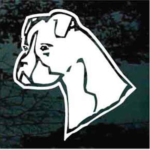 Boxer Head Un-Cropped Window Decal