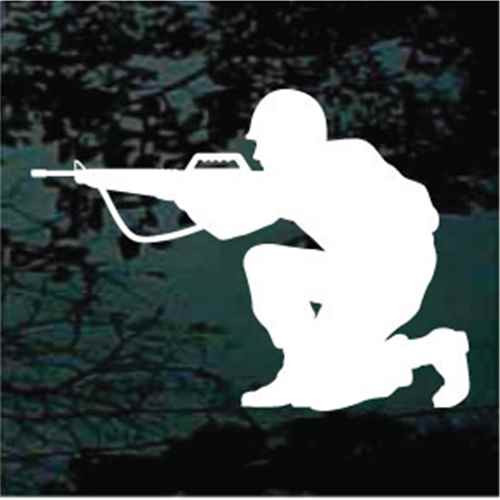 Combat Soldier Aiming Rifle Window Decal