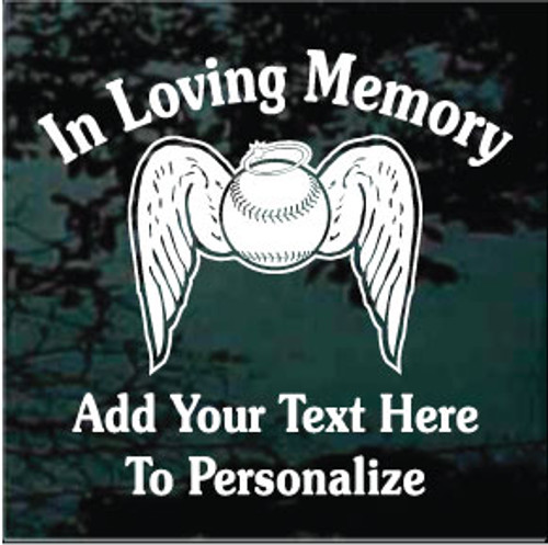 Baseball Angel Wings Memorial Souvenir Text Window Decals