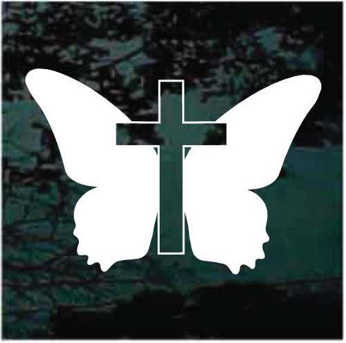 Silhouette Butterfly Cross Decals