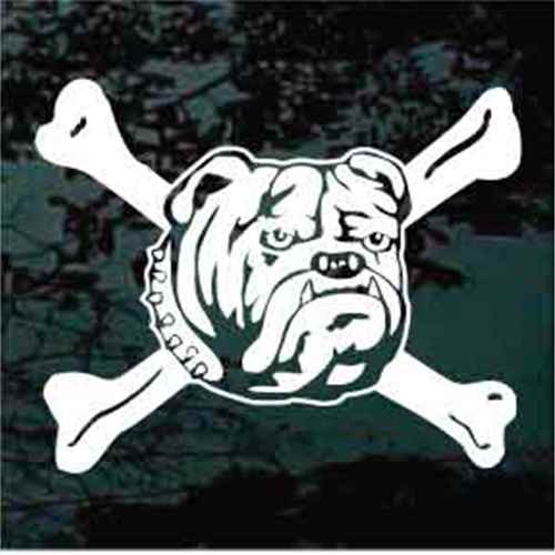 Bulldog Head Crossbones Window Decal