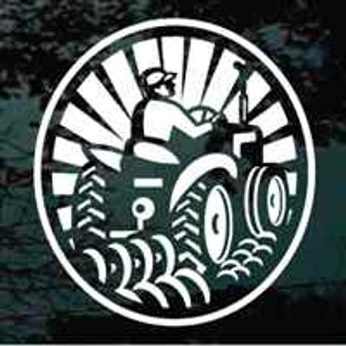 Farmer On Tractor Oval