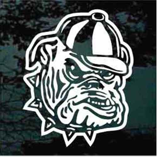 Mean Bulldog Wearing Baseball Cap Window Decals