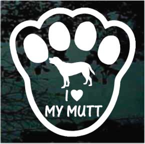 I Love My Mutt Paw Print Decals