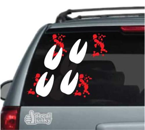 Deer Track Blood Splatters Car Decals