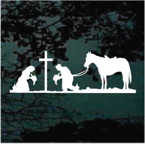 Cowboy & Cowgirl Praying With Horse