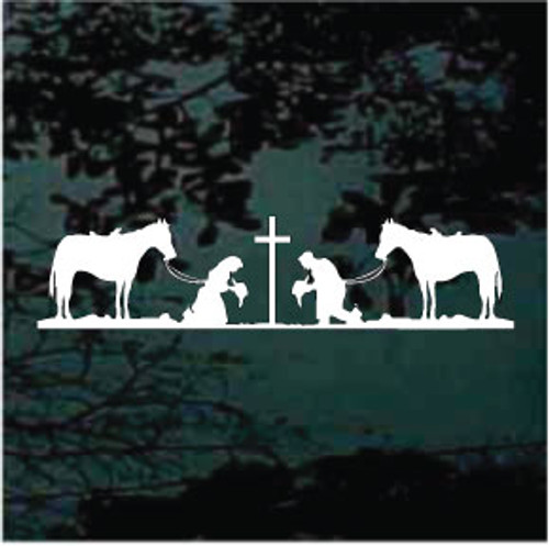 Cowboy & Cowgirl Praying 2 Horses Decals