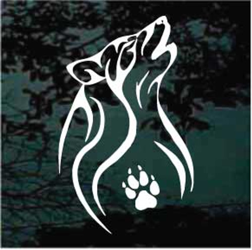 Wolf With Bear Paw Window Decals