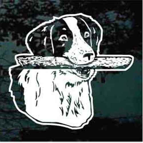 Brittany Spaniel Fetching Stick Window Decal