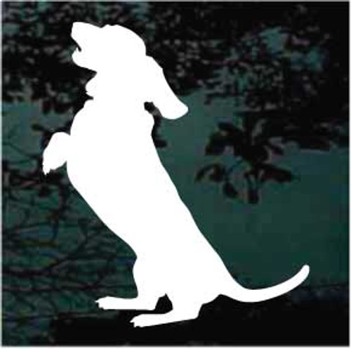 Begging Basset Hound Dog Silhouette Window Decals