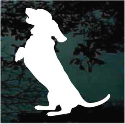Begging Basset Hound Dog Silhouette Window Decals