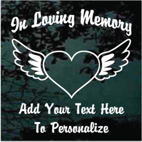 Heart With Angel Wings Memorial Decals