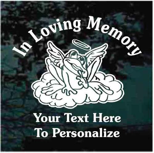 In Loving Memory Frog Angel On Cloud Memorial Window Decals