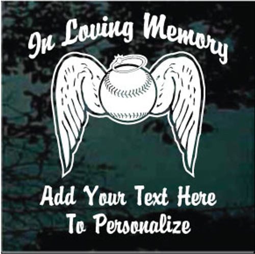 Baseball Angel Wings Memorial Window Decals