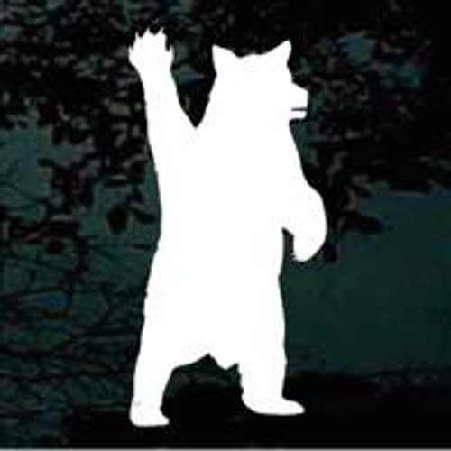 Bear Waving Silhouette Bear Stickers