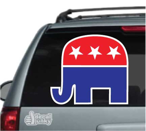 Republican Elephant Red White & Blue Car Decal