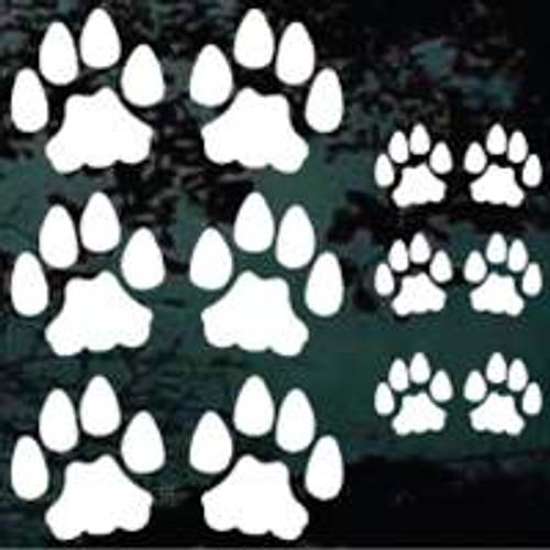 Set of 12 Cat Paw Prints Decals