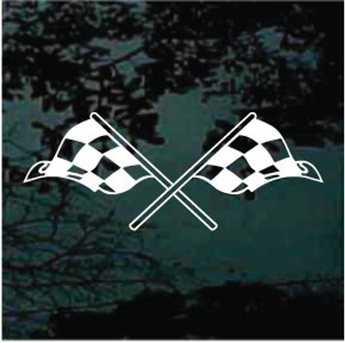 Crossed Checkered Race Flags Decals