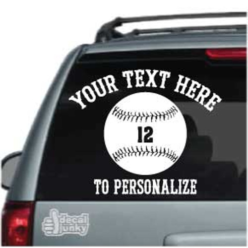Baseball 01 S. Tiffany Text Car Decals