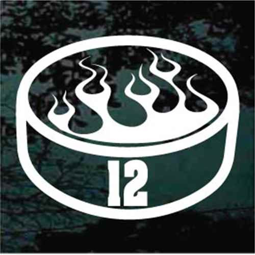 Flaming Hockey Puck With Number
