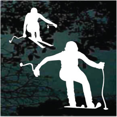 Two People Snow Skiing Window Decal