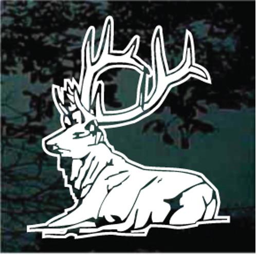 Bull Elk Laying Down Window Decals