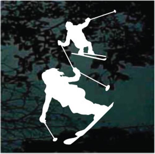 Couple Snow Skiing Window Decal