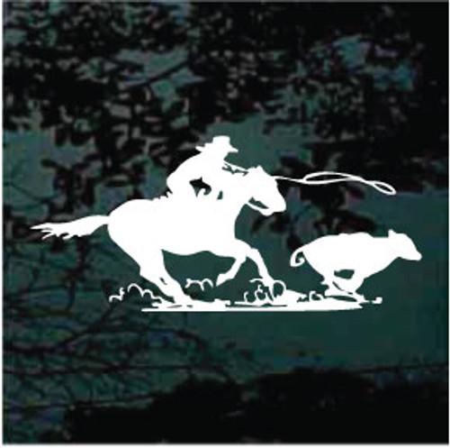 Horseback Roping Calf