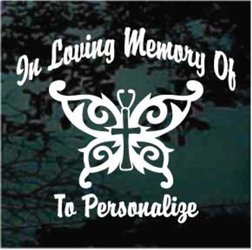 Butterfly Cross Memorial Decals