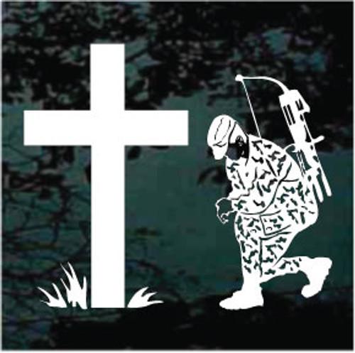 Bow Hunter Praying Cross Window Decals