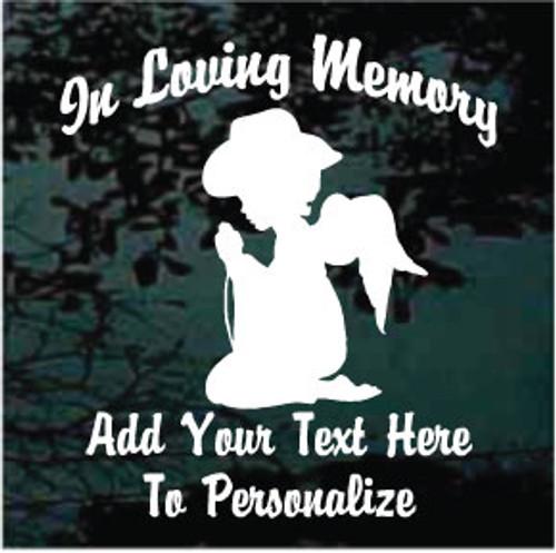 Cowgirl Angel Praying Silhouette Memorial
