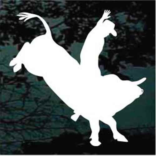 Rodeo Cowboy Bull Riding Silhouette Window Decals