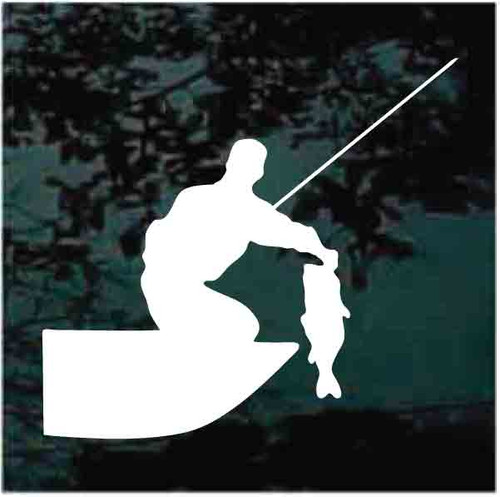 Man In Boat Catching Bass Decals
