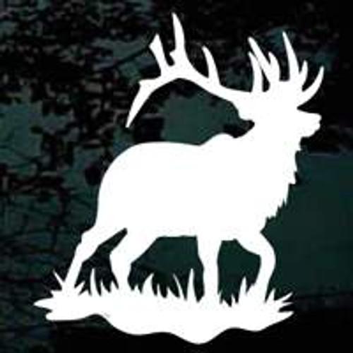 Bull Elk In Grass Window Decals