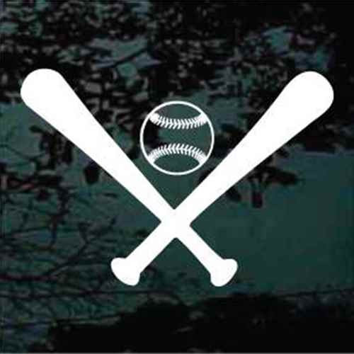 Baseball & Solid Bats Crossed Window Decals