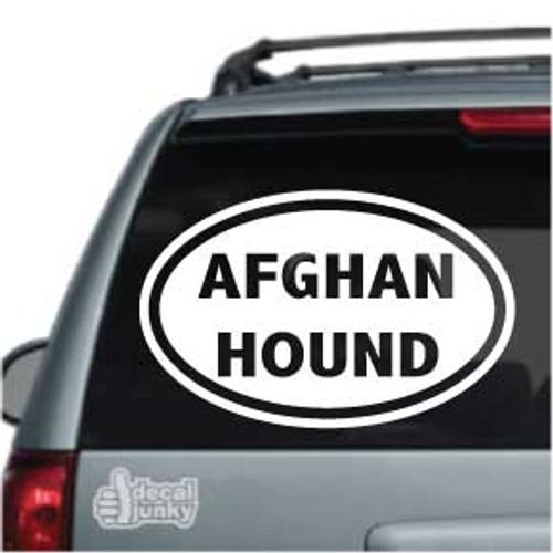 Afghan Hound Dog Oval Car Decal