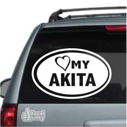 Love My Akita Oval Car Decal