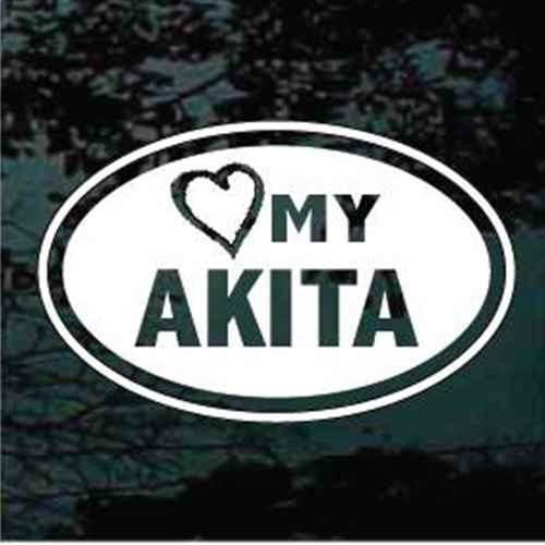 Love My Akita Oval Window Decal