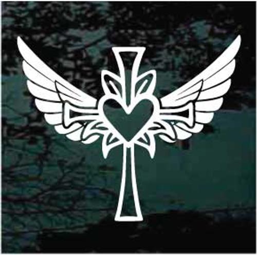 Heart Cross Angel Wings