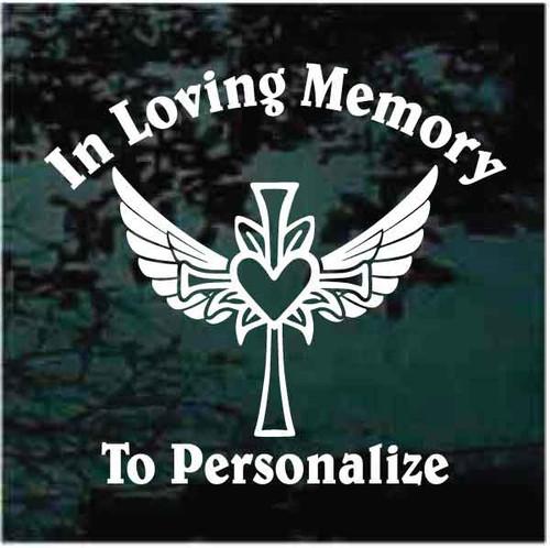 Heart Cross Angel Wings Memorial Decals