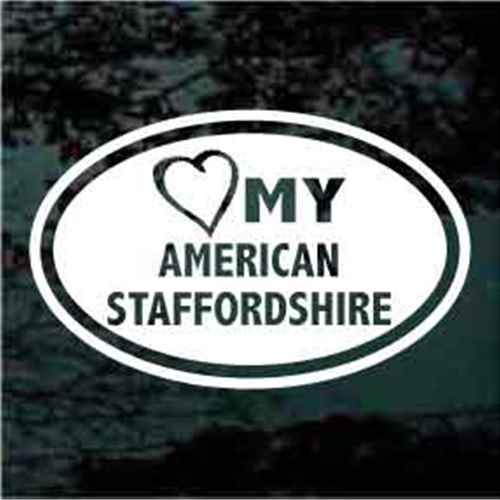 Heart My Amstaff Window Decals