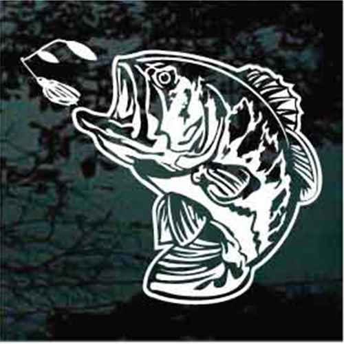 Bass Fish Chasing Lure Window Decal