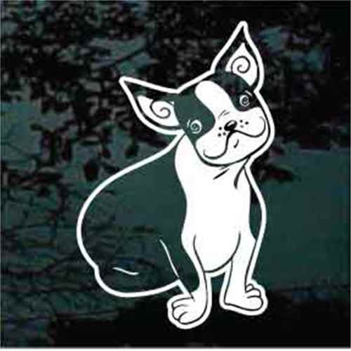 Funny Boston Terrier Smiling Window Decal