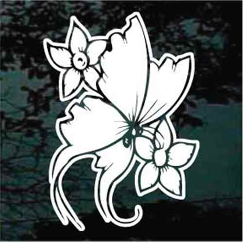 Daffodils Butterfly Window Decals