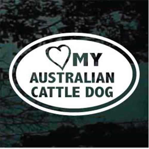 Heart My Australian Cattle Dog Oval Window Decal
